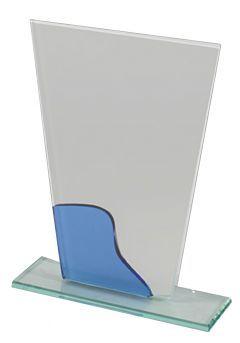 Trofeo Trapecio Cristal Onda azul