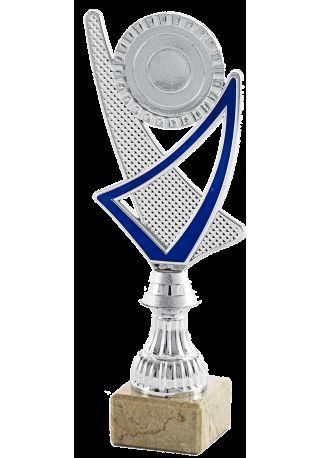 Trofeo copa plateada portadisco azul
