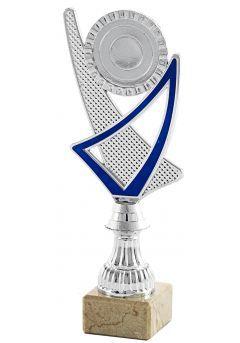 Trofeo copa plateada portadisco azul -1
