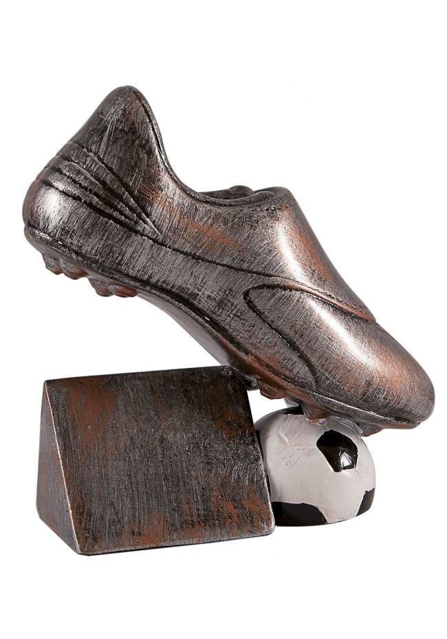 Trofeo bota con solapa de fútbol y balón