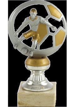 Trofeo balón y jugador de fútbol