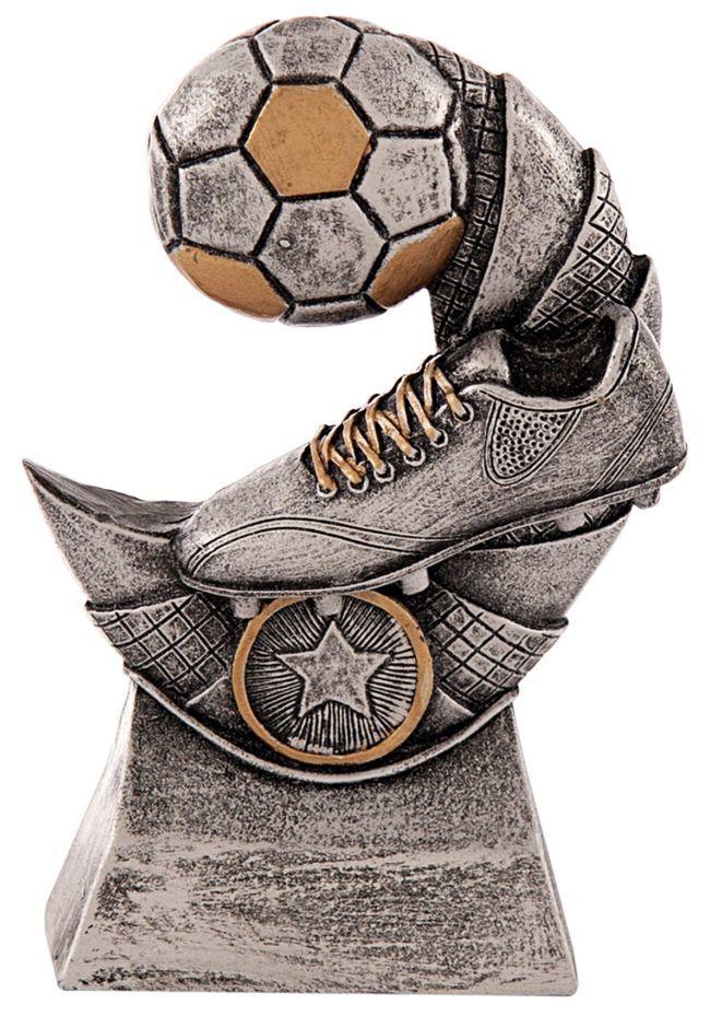 Trofeo bota y balón de fútbol en media luna