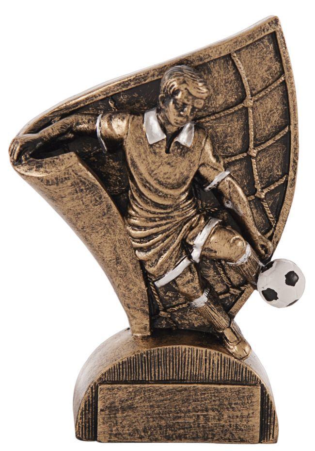 Trofeo fútbolista soporte pergamino bronce