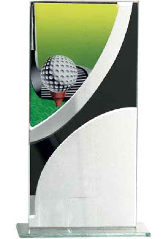 Trofeo cristal rectangular detalle negro golf