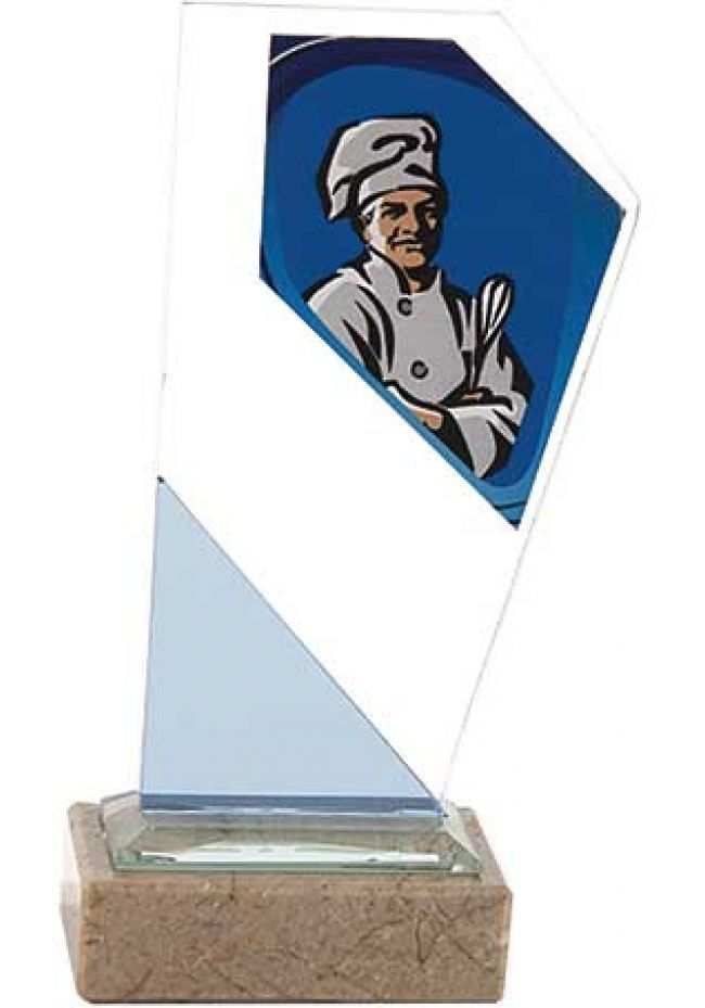 Trofeo cocina de cristal con imagen