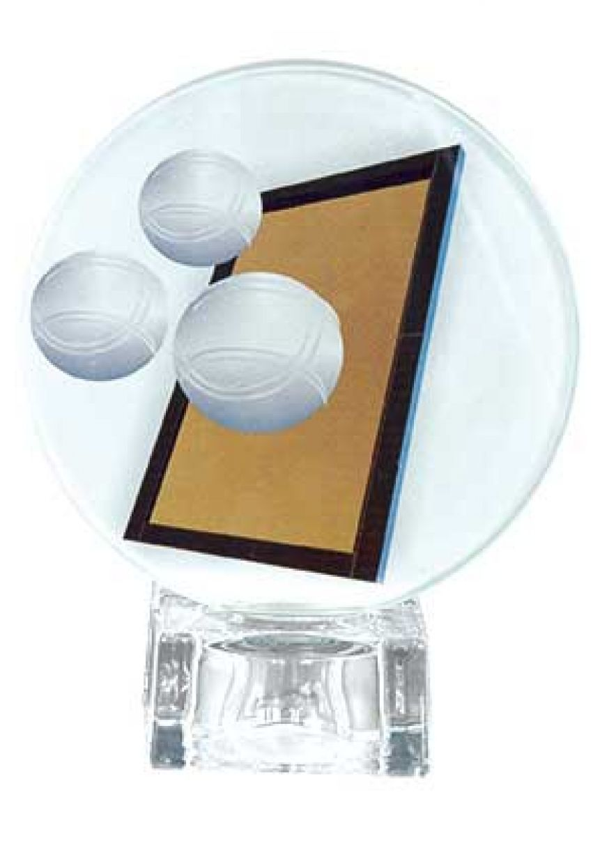 Trofeo cristal redondo base cuadrada petanca