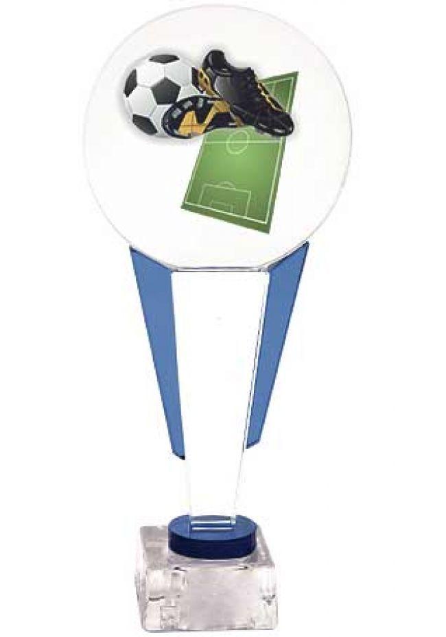 Trofeo redondo fútbol soporte columna detalle azul