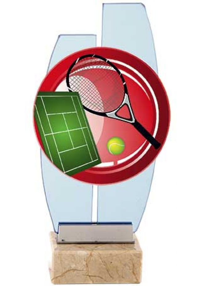 Trofeo cristal tenis dos columnas base mármol