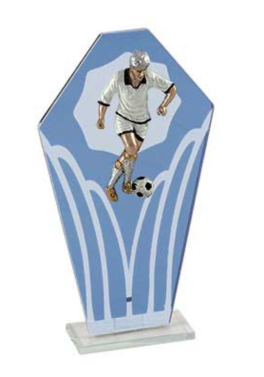 Trofeo cristal pentágono azul fútbol