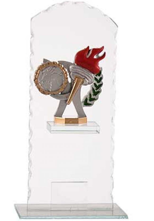 Trofeo cristal ondulado alegórico