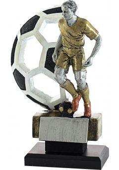 Trofeo figura fútbol con balón de fondo-1