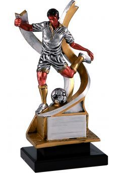 Trofeo figura fútbolista chutando