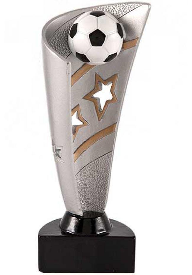 Trofeo copa forma de vela con balón de fútbol