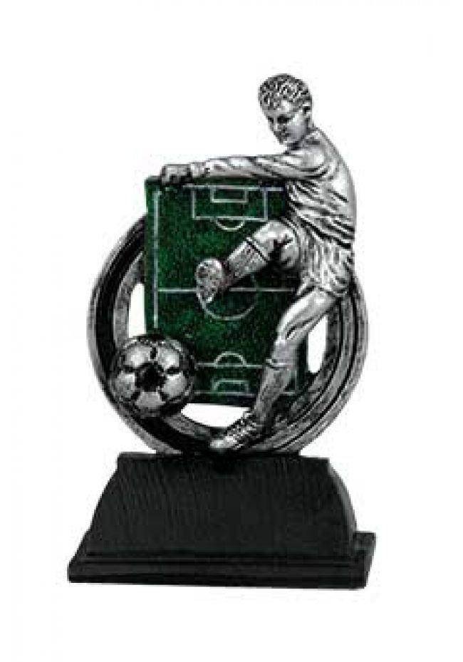 Trofeo figura jugador de fútbol y campo