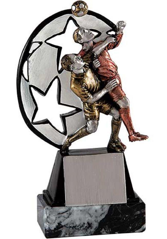 Trofeo representación jugada de fútbol