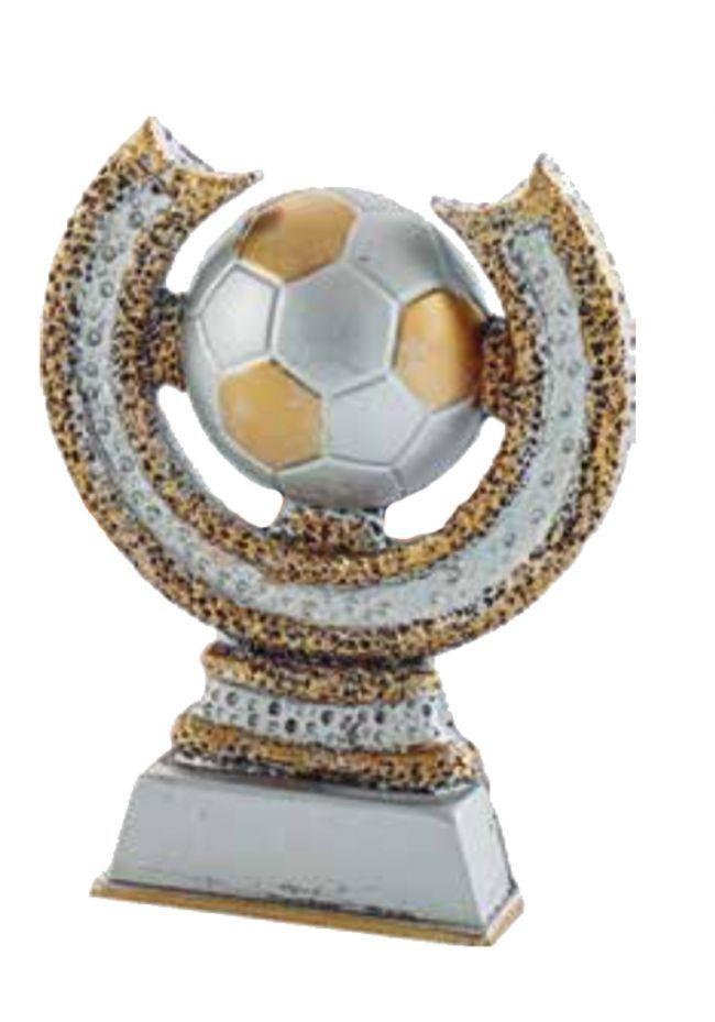 Trofeo de fútbol decorado oro y plata