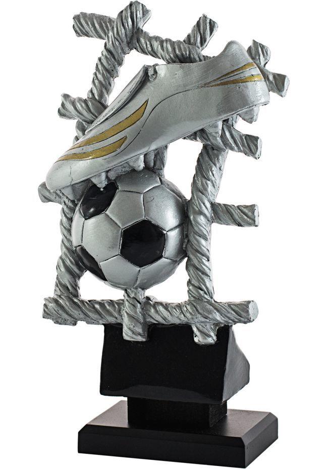 Trofeo bota de fútbol y balón fondo red
