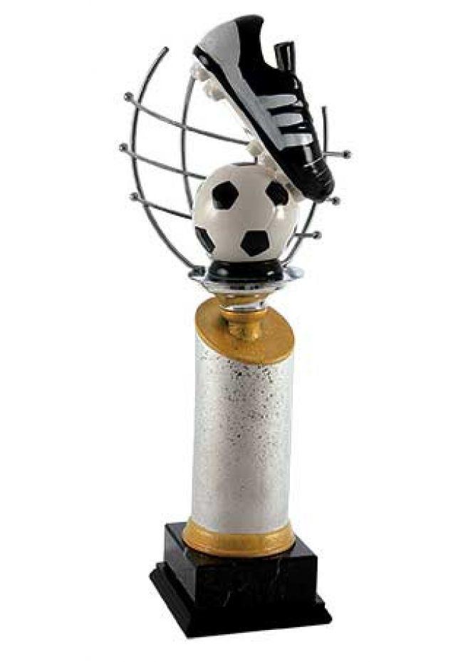 Trofeo de fútbol con red con bota y balón cerámico