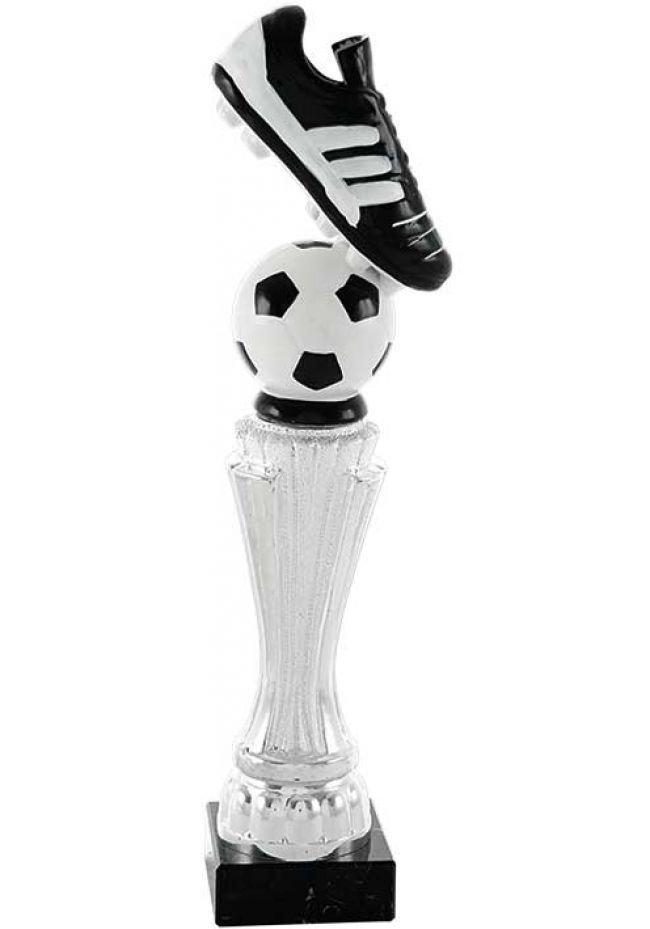 Trofeo columna con bota y balón en cerámica
