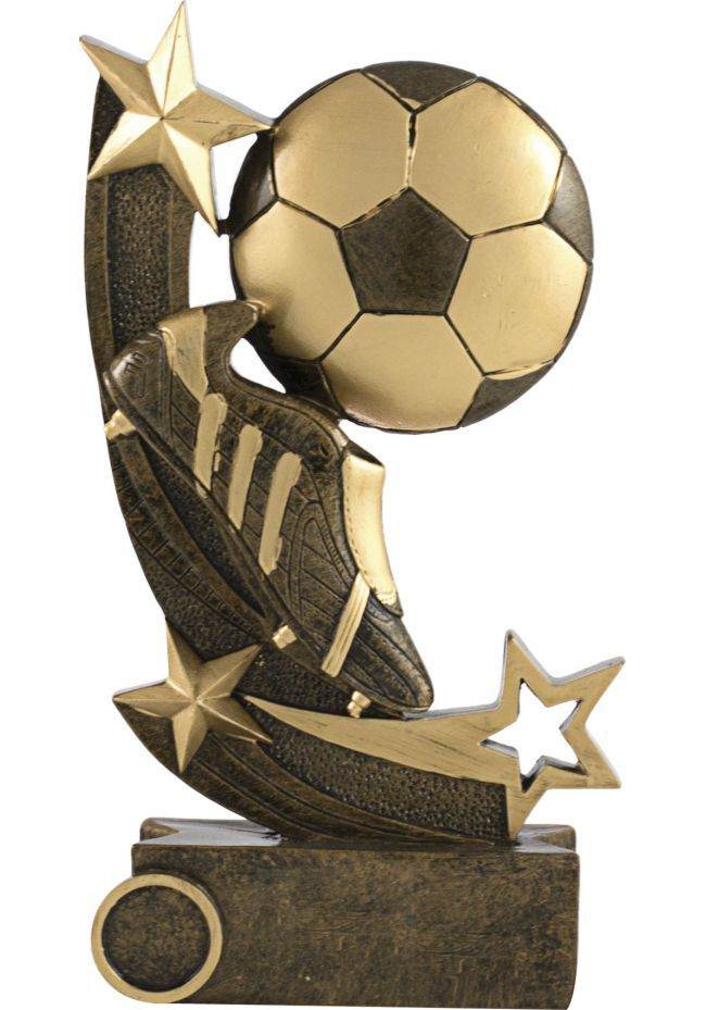 Trofeo balón de fútbol con estrellas