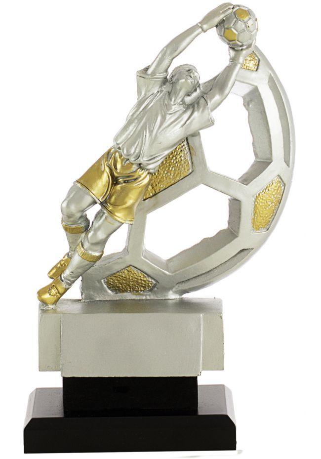 Trofeo portero con balón en dorado/plata