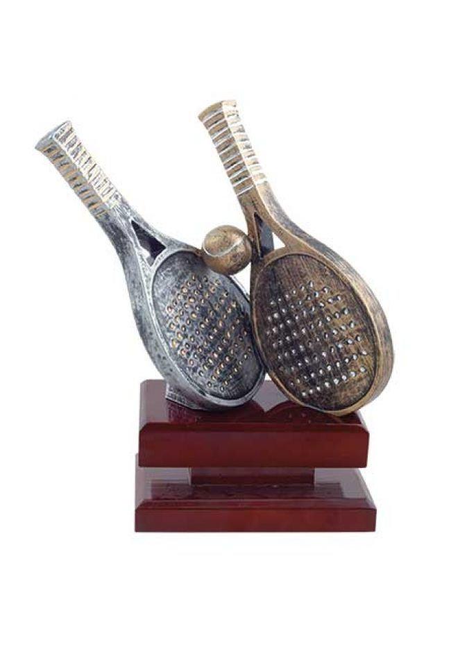 Trofeo figura pádel con doble raqueta