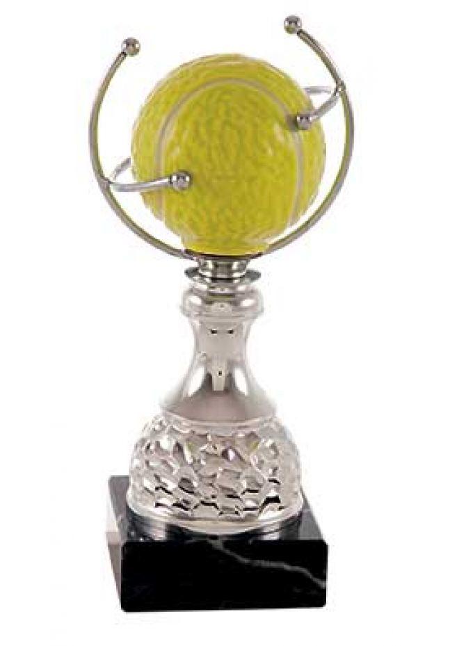 Trofeo de tenis pelota sobre aro forjado