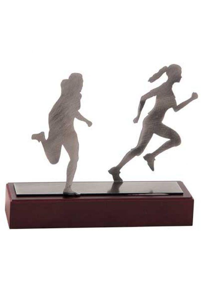 Trofeo con figura dos corredoras femenino