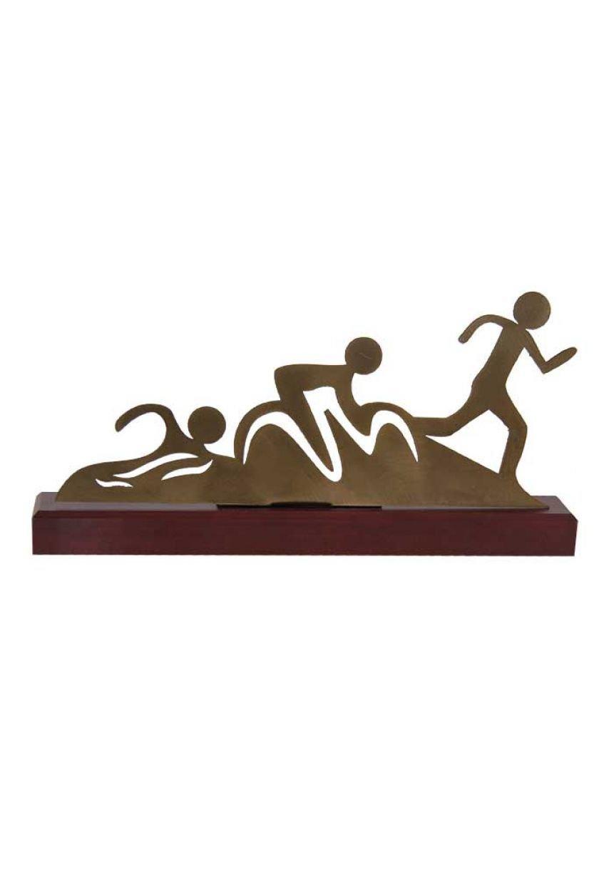 Trofeo de Triatlon corte en madera