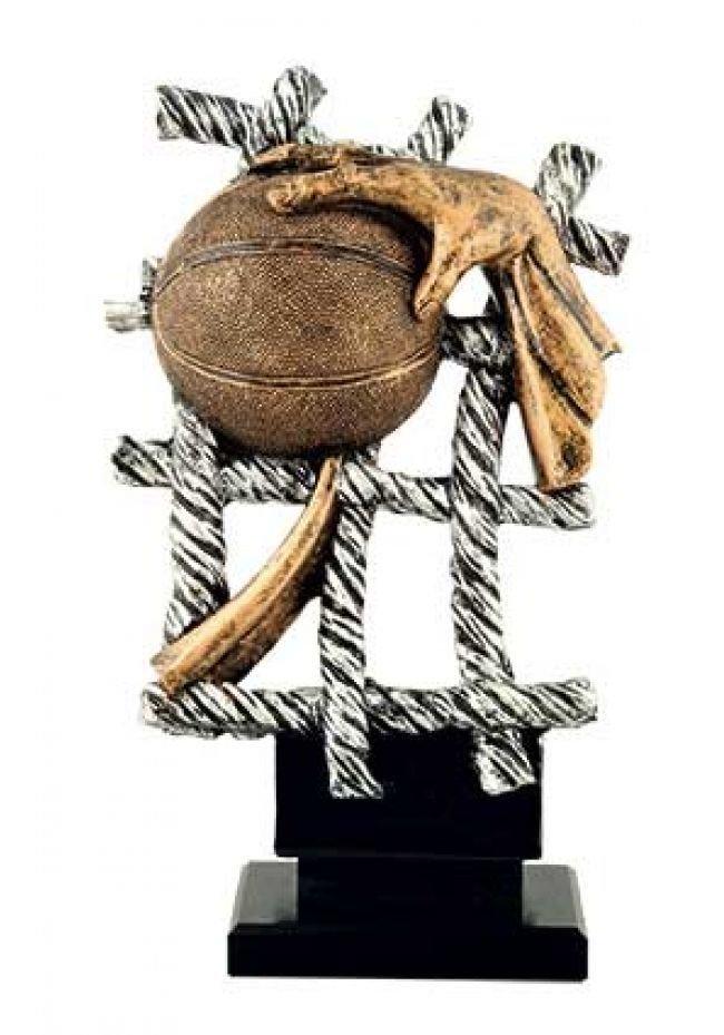 Trofeo de Baloncesto con red de baloncesto y balón