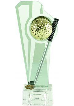 Trofeo Cristal para golf con pelota y palos