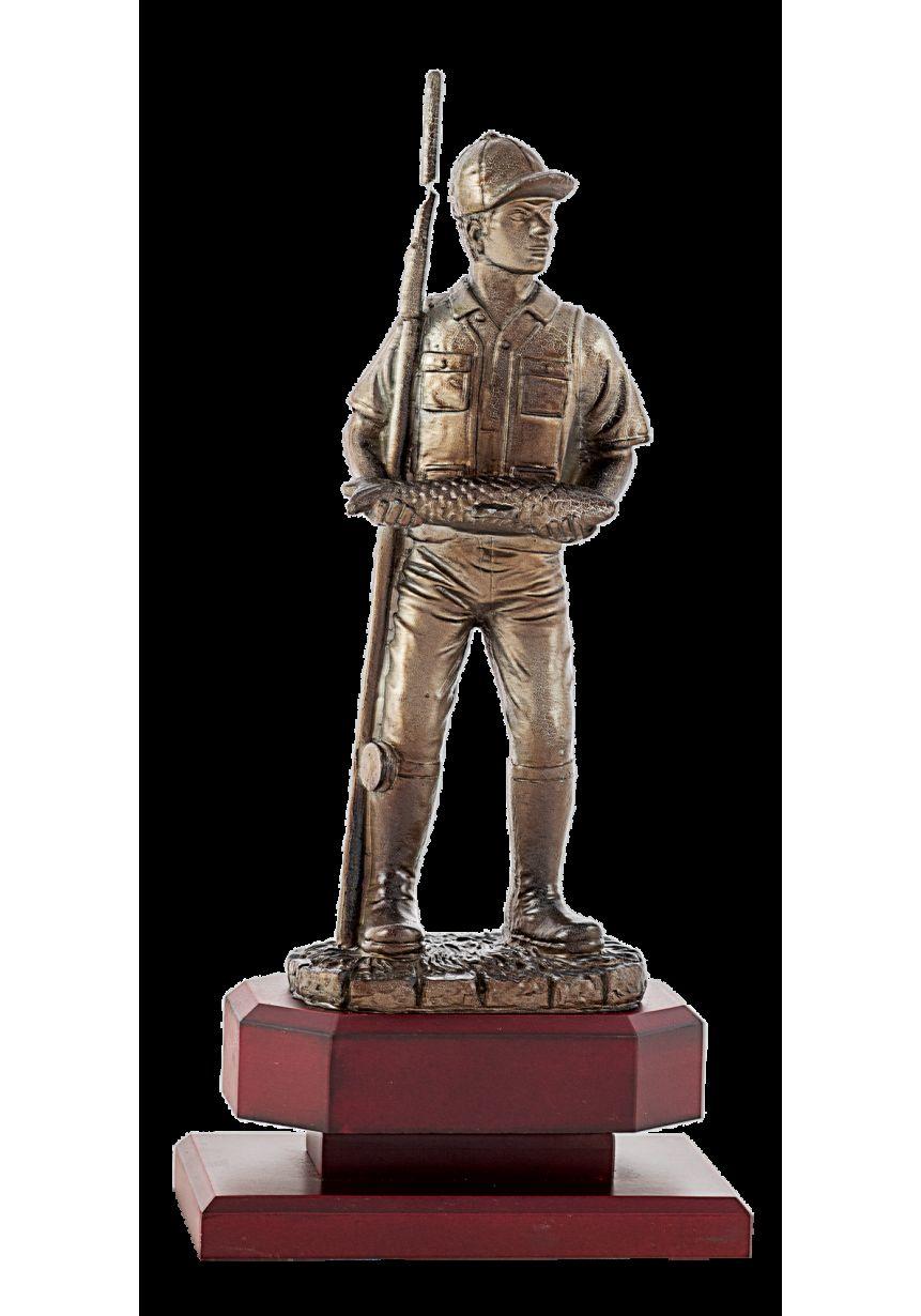 Trofeo de Pesca con pescador con caña y captura