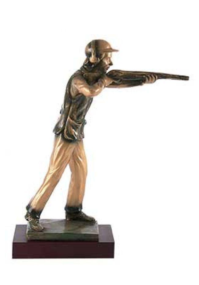 Trofeo de caza con figura de tirador en resina para tiro
