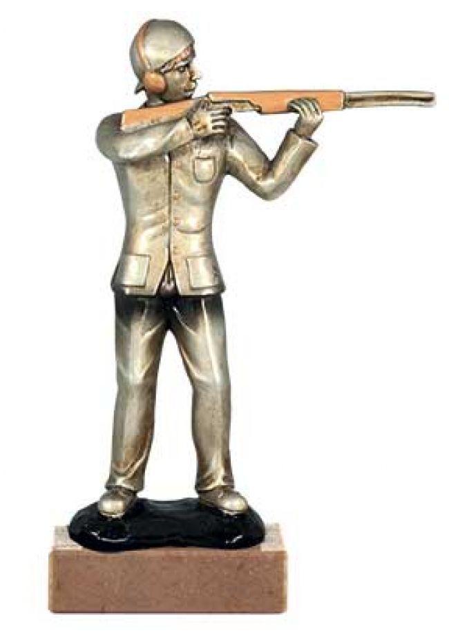 Trofeo de caza con figura de resina con hombre disparando