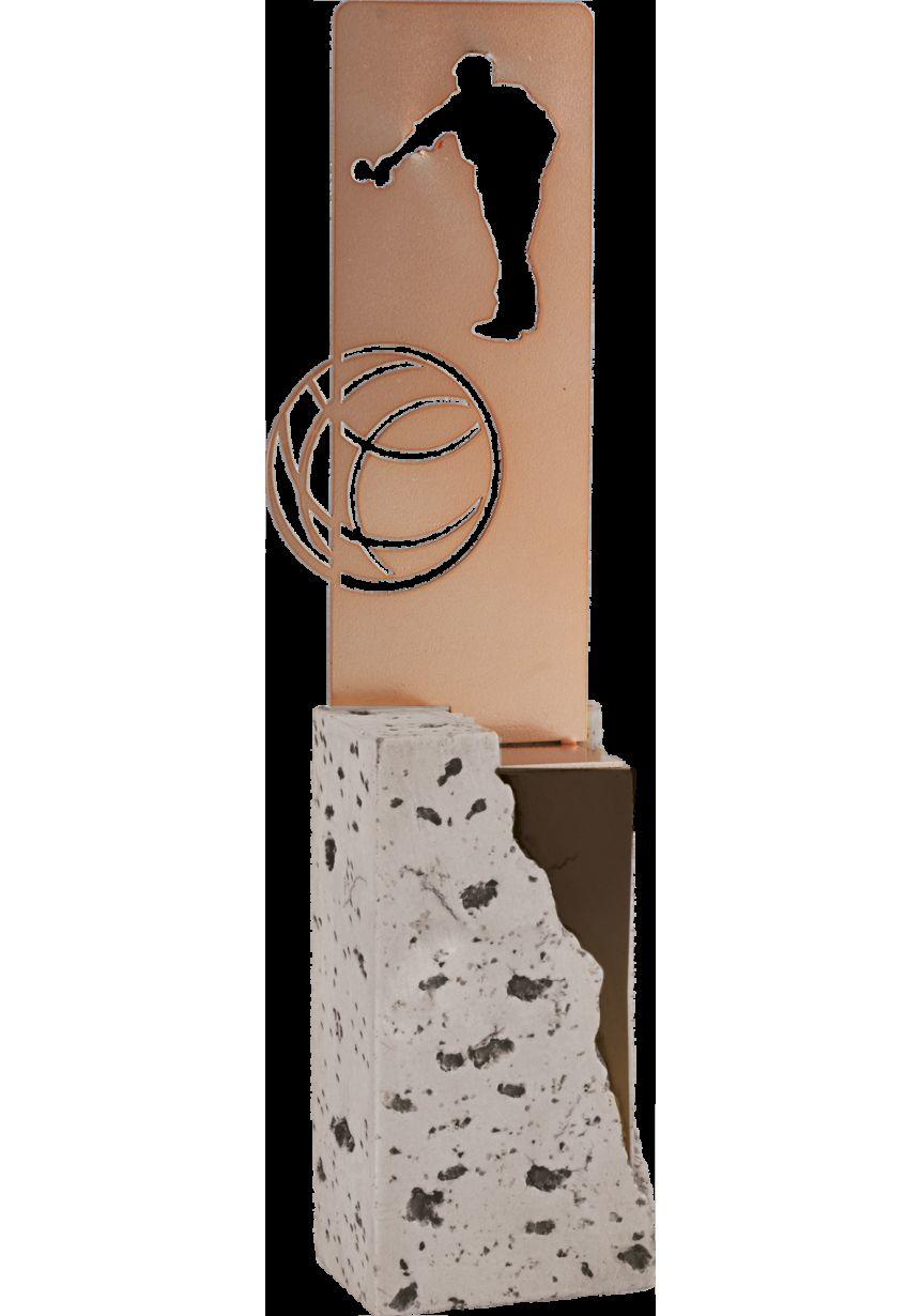Trofeo de Petanca labrado en metal soporte piedra