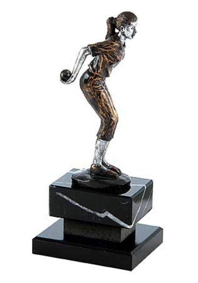 Trofeo de petanca con figura femenina