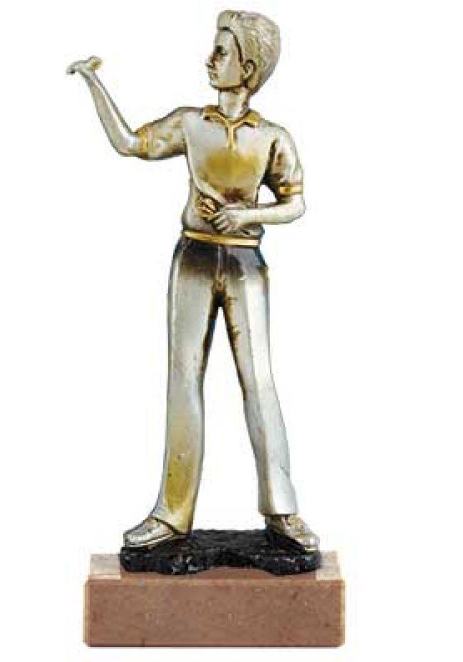 Trofeo de dardos con figura  jugador de dardos