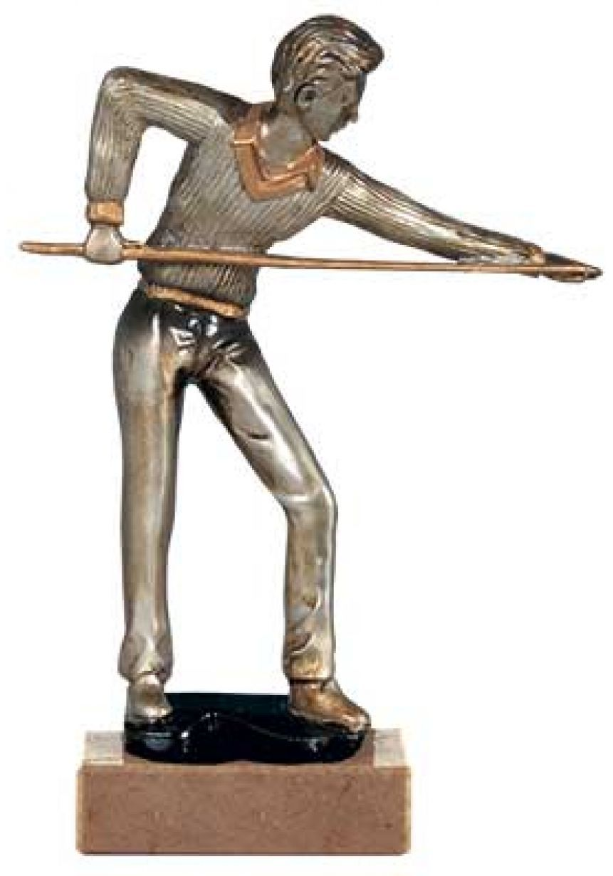 Trofeo de billar con figura jugador plateado