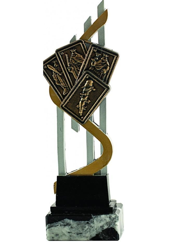 Trofeo de Cartas con soporte resina y cartas