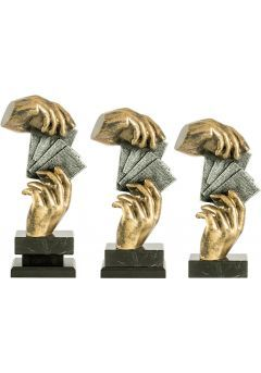 Trofeo de cartas con figura de manos Thumb