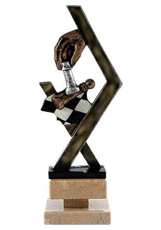 Trofeo de ajedrez con peones