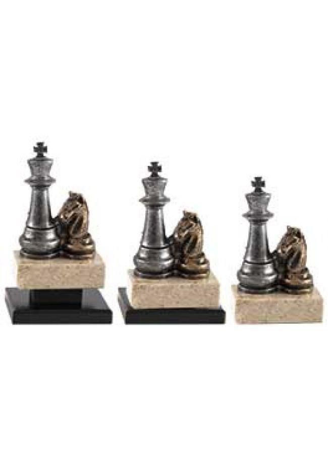 Trofeo de Ajedrez con figuras del rey y caballo