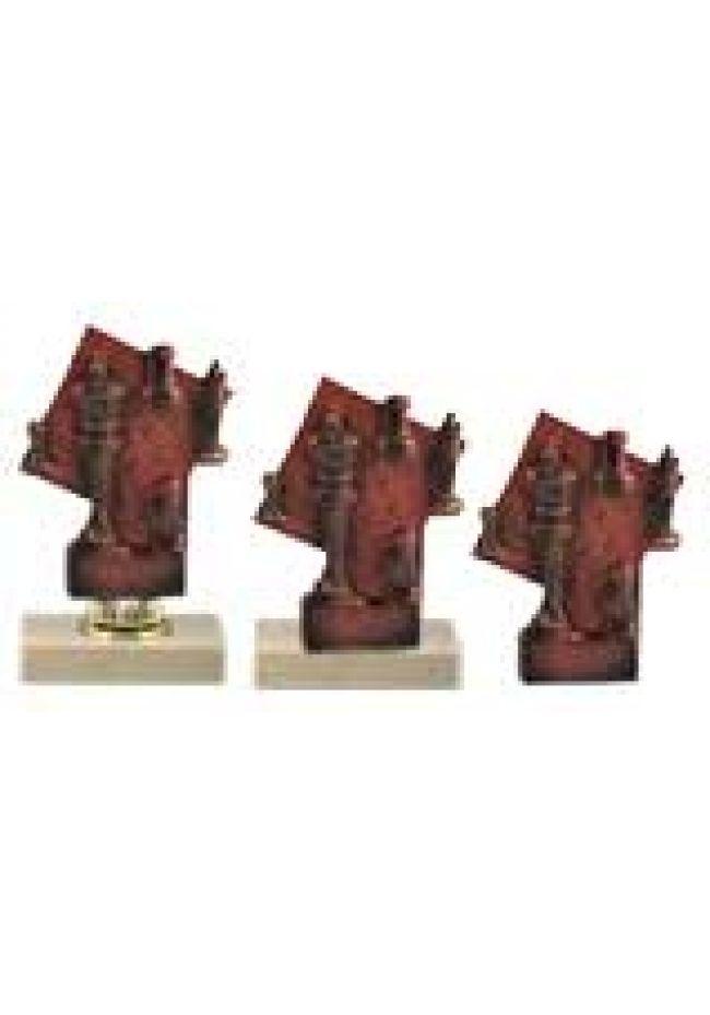 Trofeo ajedrez piezas cobre mini