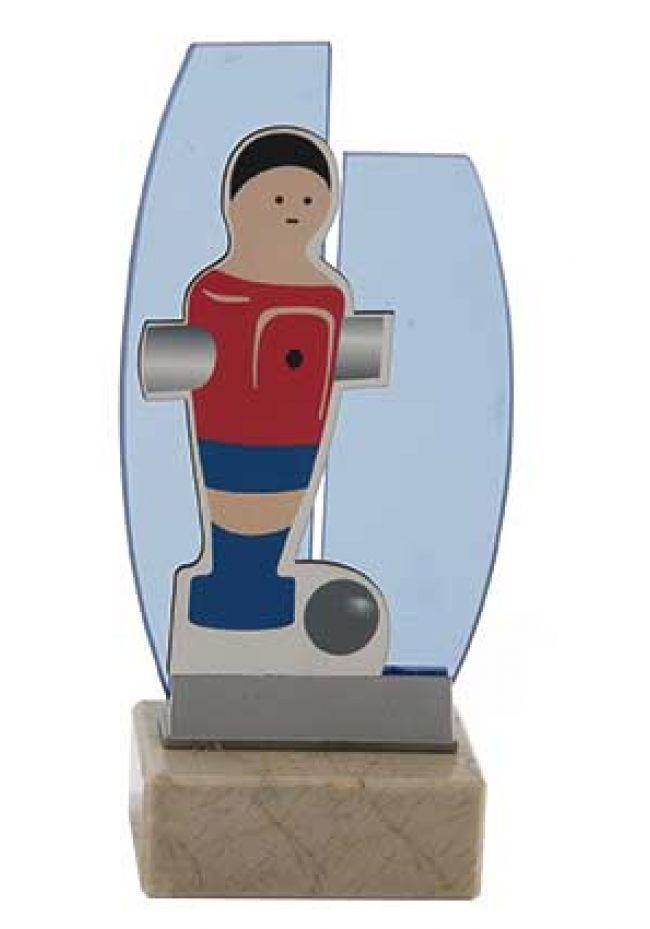 Muñeco de fútbolín muñeco sobre cristal
