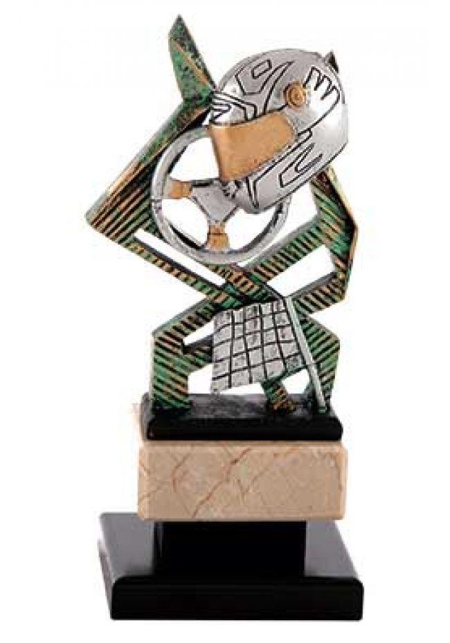 Trofeo de automovilismo figura con casco