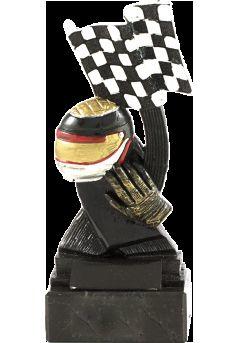 Trofeo de automovilismo bandera y casco