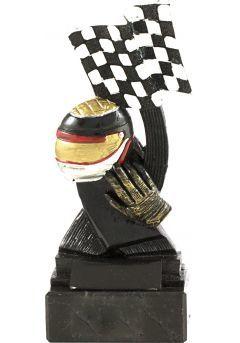 Trofeo de automovilismo bandera y casco-1