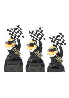 Trofeo de automovilismo bandera y casco Thumb