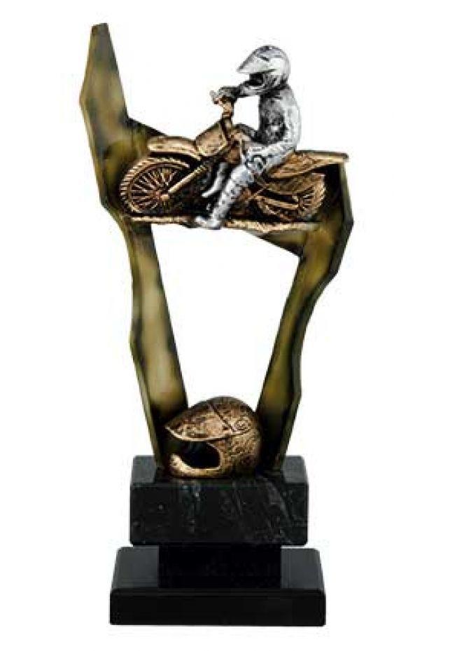 Trofeo de motocross figura y casco decorativos