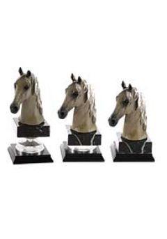 Trofeo figura cabeza caballo oro‐plata Thumb
